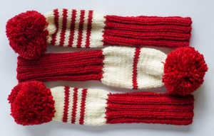 Red/Cream Golf Club Covers