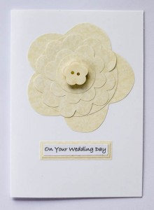 Parchment Flower Wedding Card